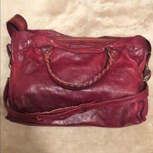 Balenciaga red leather purse
